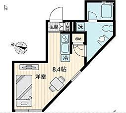 東急世田谷線 上町駅 徒歩1分の賃貸マンション 2階ワンルームの間取り