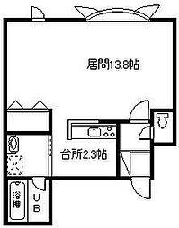 ヴィードII 1階ワンルームの間取り