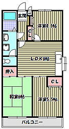 ボヌール上野芝[2階]の間取り