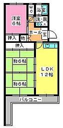 シャトー渡辺[4階]の間取り