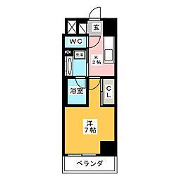 ラグゼナ武蔵新城 1階1Kの間取り