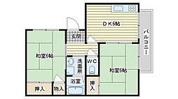 大阪府高槻市野田1丁目の賃貸アパートの間取り