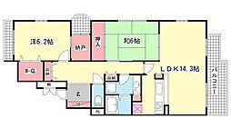 パークノヴァ西岡本[2階]の間取り