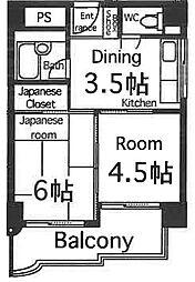 丸栄マンション幸町 4階2DKの間取り
