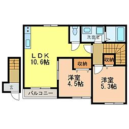 仮)金剛アパート[201号室]の間取り