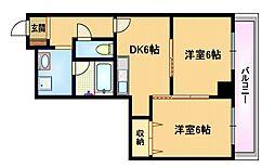 おおさか東線 城北公園通駅 徒歩9分の賃貸マンション 2階2DKの間取り