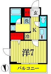 京成押上線 京成曳舟駅 徒歩6分の賃貸マンション 3階1Kの間取り