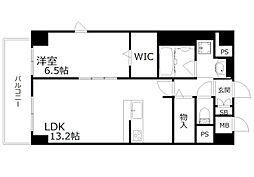 新芦屋ビル 4階1LDKの間取り
