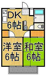 ヤマキハイツ[2階]の間取り