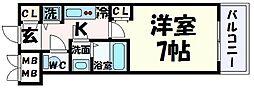 JR東海道・山陽本線 三ノ宮駅 徒歩10分の賃貸マンション 15階1Kの間取り