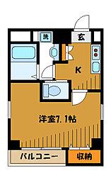 JR中央線 国分寺駅 徒歩9分の賃貸マンション 4階1Kの間取り