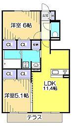 仮)D-room晴見町 B[1階]の間取り