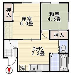 中島荘II[102号室]の間取り