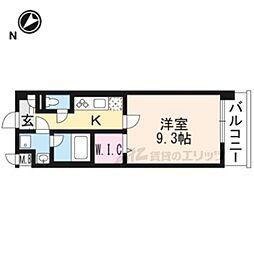 JR東海道・山陽本線 長岡京駅 徒歩7分の賃貸マンション 3階1Kの間取り