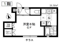 東京都目黒区上目黒5丁目の賃貸アパートの間取り