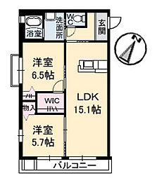 広島県広島市安佐南区上安の賃貸アパートの間取り