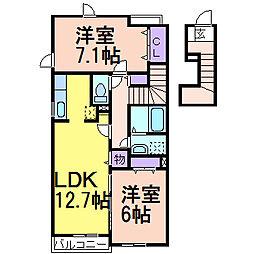 栃木県鹿沼市栄町1の賃貸アパートの間取り