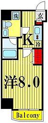 都営大江戸線 両国駅 徒歩4分の賃貸マンション 4階1Kの間取り