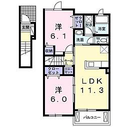 JR中央本線 竜王駅 5.9kmの賃貸アパート 2階2LDKの間取り