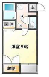 JR山陽本線 西川原駅 徒歩7分の賃貸マンション 3階1Kの間取り