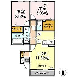 JR高徳線 板野駅 徒歩35分の賃貸アパート 1階2LDKの間取り