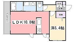 兵庫県三木市大村字砂の賃貸アパートの間取り