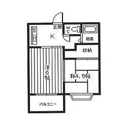 JR高崎線 北本駅 徒歩8分の賃貸アパート 2階2Kの間取り