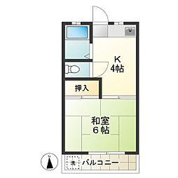 富士見コーポA[202号室]の間取り