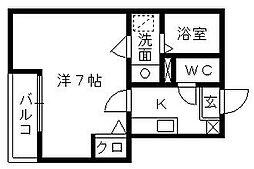 クレフラスト新浜松駅西[201号室]の間取り
