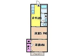 愛媛県松山市吉藤5丁目の賃貸アパートの間取り