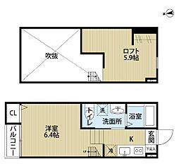 神奈川県川崎市多摩区生田5丁目の賃貸アパートの間取り