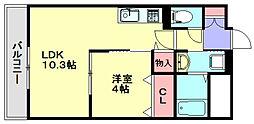 西鉄天神大牟田線 春日原駅 徒歩2分の賃貸マンション 3階1LDKの間取り
