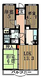 ベルドミール鶴川[1階]の間取り