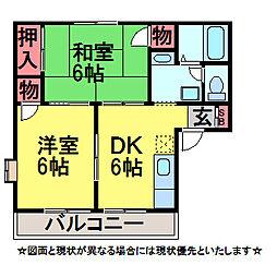 千葉県佐倉市大崎台2丁目の賃貸アパートの間取り