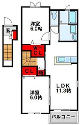 福岡県古賀市谷山の賃貸アパートの間取り