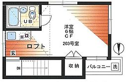 東京都新宿区戸山1丁目の賃貸アパートの間取り