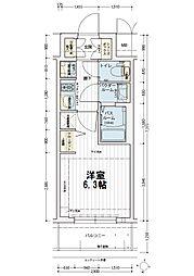 エステムコート新大阪オルティ 8階1Kの間取り