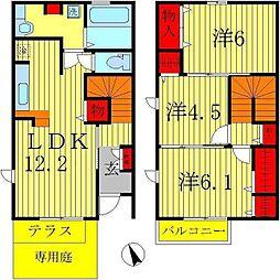 [テラスハウス] 千葉県松戸市八ヶ崎7丁目 の賃貸【/】の間取り
