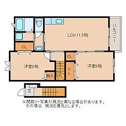 静岡県藤枝市前島の賃貸アパートの間取り