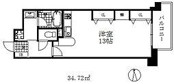 インペリアル新神戸 7階1DKの間取り