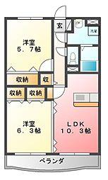 栃木県宇都宮市越戸町の賃貸マンションの間取り