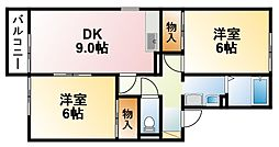 千葉県茂原市長尾の賃貸アパートの間取り