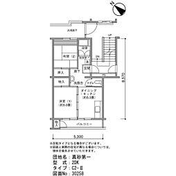 真砂第一団地5-16[8階]の間取り