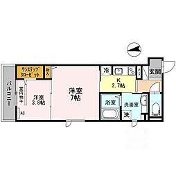 大阪府茨木市舟木町の賃貸アパートの間取り