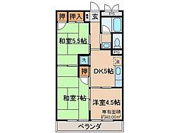京都府宇治市五ケ庄梅林の賃貸アパートの間取り