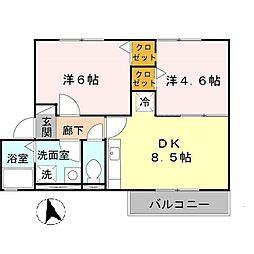 大阪府大阪市平野区長吉六反3丁目の賃貸アパートの間取り