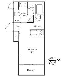 都営大江戸線 麻布十番駅 徒歩4分の賃貸マンション 3階1Kの間取り
