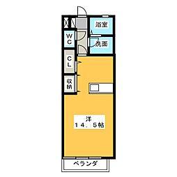 静岡県藤枝市高柳1丁目の賃貸アパートの間取り