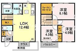 [テラスハウス] 岡山県岡山市南区万倍丁目なし の賃貸【/】の間取り