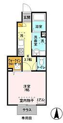 埼玉県草加市中央1丁目の賃貸アパートの間取り